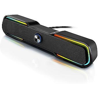 PC Lautsprecher Computer Gaming Lautsprecher Boxen USB Kleine Soundbar RGB LED Beleuchtung Stereo Lautsprecher
