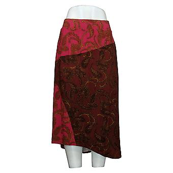 LOGO by Lori Goldstein Skirt Print Rayon 230 Color Block Red A377155