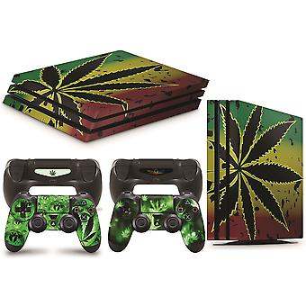GNG PS4 PRO Console WEED Skin Decal Vinal Sticker + 2 Controller Skins Set