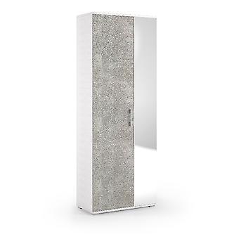 Armario de tierra, Color blanco en aglomerado de melamina, L72xD37xH195 cm