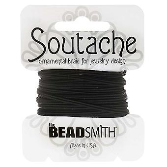 The Beadsmith Soutache Braided Cord 3mm Wide - Black (3 Yard Card)