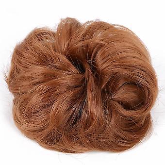 2 Stk Rodet Scrunchies Hair Boller Syntetisk Elastik Band Chignon Haler Rose Bun Hair Scrunchie