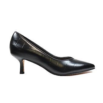 Clarks Violet 55 Court Black Croc Leather Womens Court Shoes