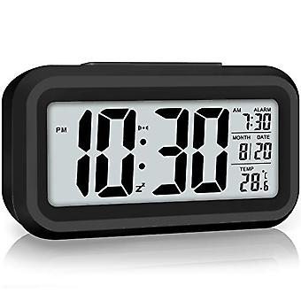 Led Display Digital Alarm Clock Battery Operated Smart Night Light Easy Operation Clock For Kids Heavy Sleepers Bedroom Clock (black)