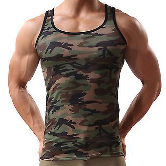 Men Camo Sleeveless Undershirt Fitness Sport Tank Stretch Slim Fit Tops
