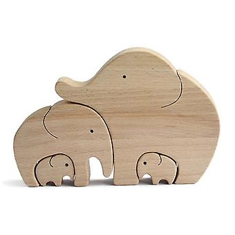 Elephant Mother And Child Mother's Day Gift Wooden Ornament Desktop Decor