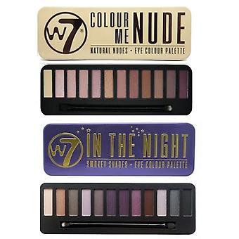 W7 Eyeshadow palety - (w nocy + kolor mnie nago)