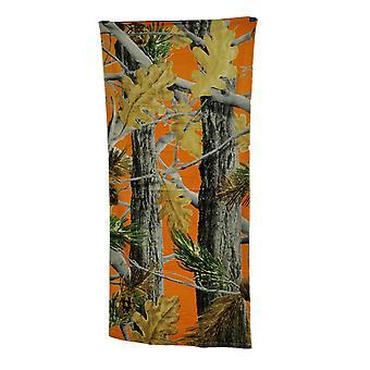 ブレイズ オレンジ リーフ迷彩綿ビーチ タオル 28 × 58 インチ