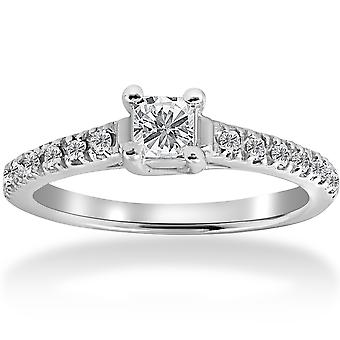 1 / 2ct Princess Cut Pave Diamant Verlobungsring 14K White Gold