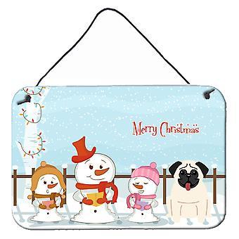 Merry Christmas Carolers Pug Cream Wall or Door Hanging Prints