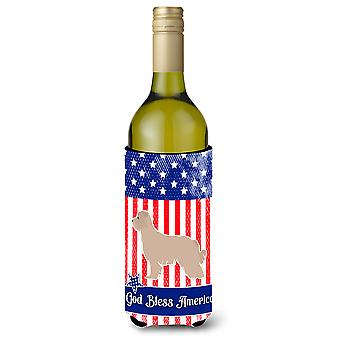 USA Patriotic Pyrenean Shepherd Wine Bottle Beverge Insulator Hugger