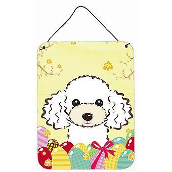 Poodle branca Easter Egg Hunt parede ou porta-impressões de suspensão