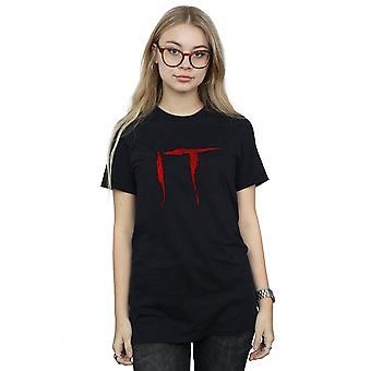 It Women's Distressed Logo Boyfriend Fit T-Shirt