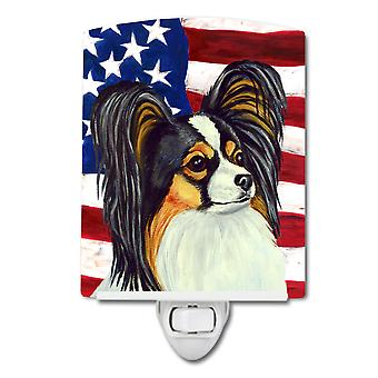 USA American Flag with Papillon Ceramic Night Light