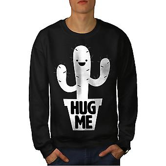 Hug Me Cactus Irony Men BlackSweatshirt | Wellcoda