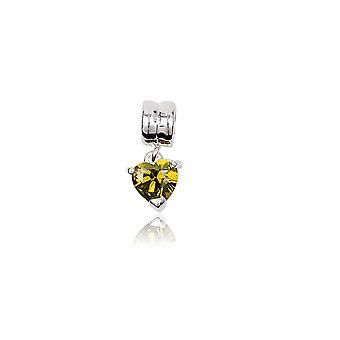 Charms Bead Coeur en Cristal Jaune Vert et Argent 925 1375