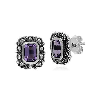 Art Deco Style Octagon Amethyst & Marcasite Stud Earrings in 925 Sterling Silver 214E852603925