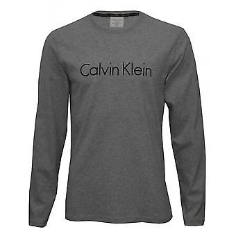 Calvin Klein langermet Crew-hals Jersey Logo t-skjorte, grå Heather