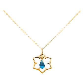 Collana da donna GEMSHINE in oro placcato oro argento YOGA fiore di loto