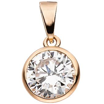Pendant around 925 Sterling Silver Gold gold plated 1 cubic zirconia