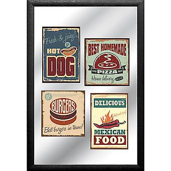 Fast Food levels is colorful, printed with black plastic frame in wood.