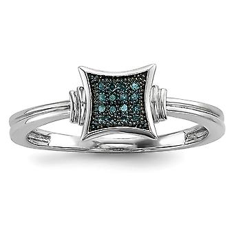 925 Sterling Silver Open back With White Blue Diamonds Square Ring Jewelry Gifts for Women - Ring Size: 6 to 8