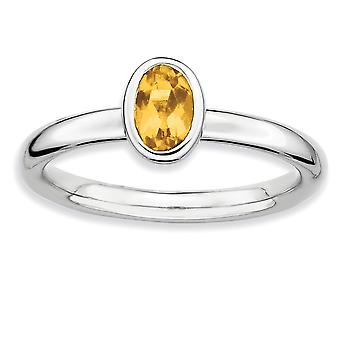 925 Sterling Silver Bezel Polished Rhodium plaqué Empilable Expressions Oval Citrine Ring Jewelry Gifts for Women - Rin