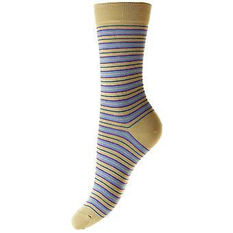 Pantherella Sonya Striped Egyptian Cotton Ankle Socks - Light Khaki