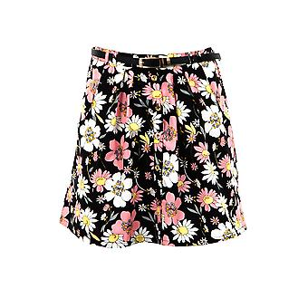 Ladies Belted Floral Print Buttoned Front Pocket Pleated Women's Skirt