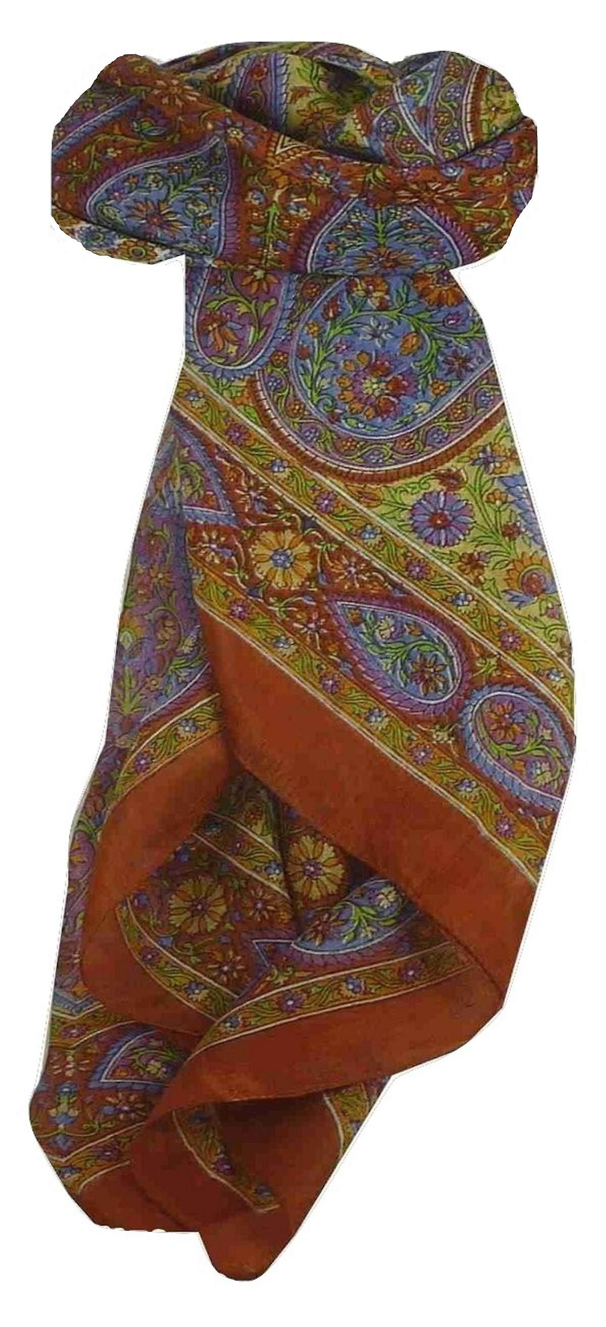 Mulberry Silk Traditional Square Scarf Chiti Terracotta by Pashmina & Silk
