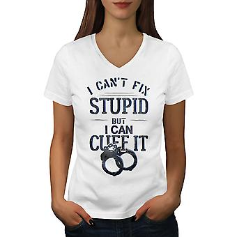 Police Officer Cuffs Women WhiteV-Neck T-shirt | Wellcoda