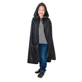 Velvet Black Hooded Cloak 88cm