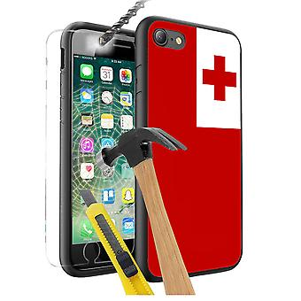 For Apple iPhone 7 Plus - Tonga Flag Design Printed Black Case Skin Cover with Tempered Glass - 0178 by i-Tronixs
