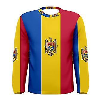 Vlag van Moldavië lange mouw gesublimeerd sport Jersey