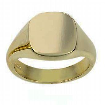 18ct Gold 14x13mm plain solid cushion Signet Ring Size W