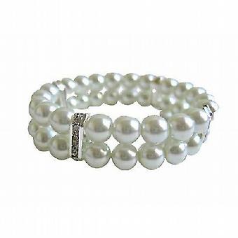 Witte parels dubbele gestrande rekbare armband w / zilver Rondells