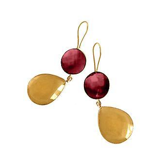 Gemshine øreringe Citrine og røde kvarts dråber i 925 sølv eller forgyldt