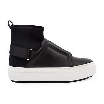 Pierre Hardy Ns02leathersliderblack Women-apos;s Black Leather Hi Top Sneakers