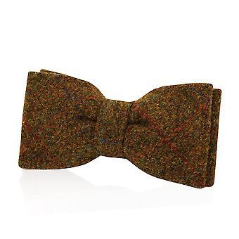 Schotse Harris Tweed mens roest strikje 100% wol vooraf gebonden