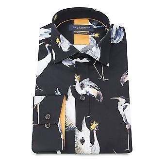 Guia Londres algodão puro pássaro preto manga longa impressão Mens camisa
