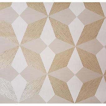 Lineaire Diamond Geometrische behang Metallic Grijs Goud Beige Paste Wall Vinyl