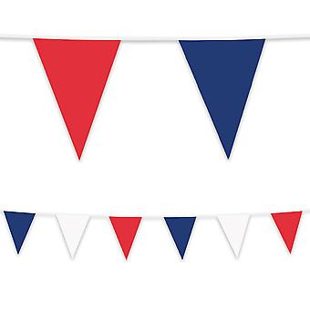 Red White & Blue Tricolore Plastic Bunting 10m Long Garden Party Decoration