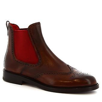 ليوناردو أحذية النساء & ق الجناح اليدوية حذاء تشيلسي في جلد العجل براندي