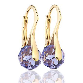 Ah! Sieraden-Tanzanite Briolette kristallen van Swarovski oorbellen, goud Over zilver