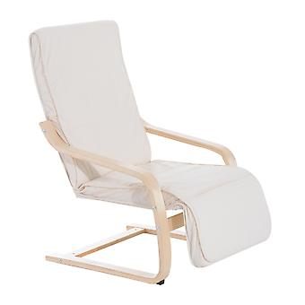 HOMCOM Wooden Lounging Rocker Deck Rocking Chair Relaxing Recliner Lounge Seat w/Adjustable Footrest & Removable Cushion (Creamy white)