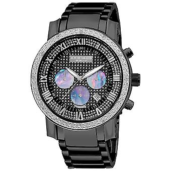 Akribos XXIV AKS19439BK Miesten Diamond-Accented musta Chronograph ranne koru Watch