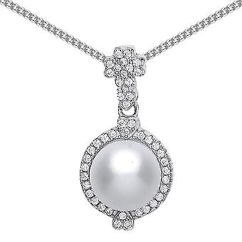 Jewelco London Rhodium Plated Silver Round Brilliant Cubic Zirconia and Simulated Pearl Halo Charm Necklace 9mm 18
