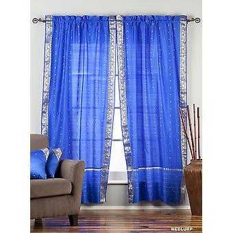 Betoverende blauwe Rod Pocket zuivere Sari gordijn / Drape / paneel - koppel