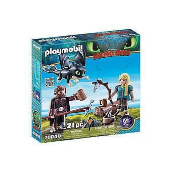 Playmobil DreamWorks Dragons hiccup en Astrid met baby draak 21PC Playset
