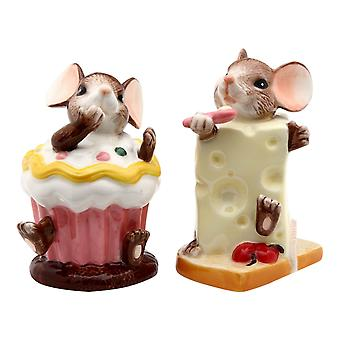 Mouse Mice Cheese Cupcake Salt and Pepper Shaker Shaker Set